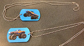 Blue Samson Monster Truck Dog Tags