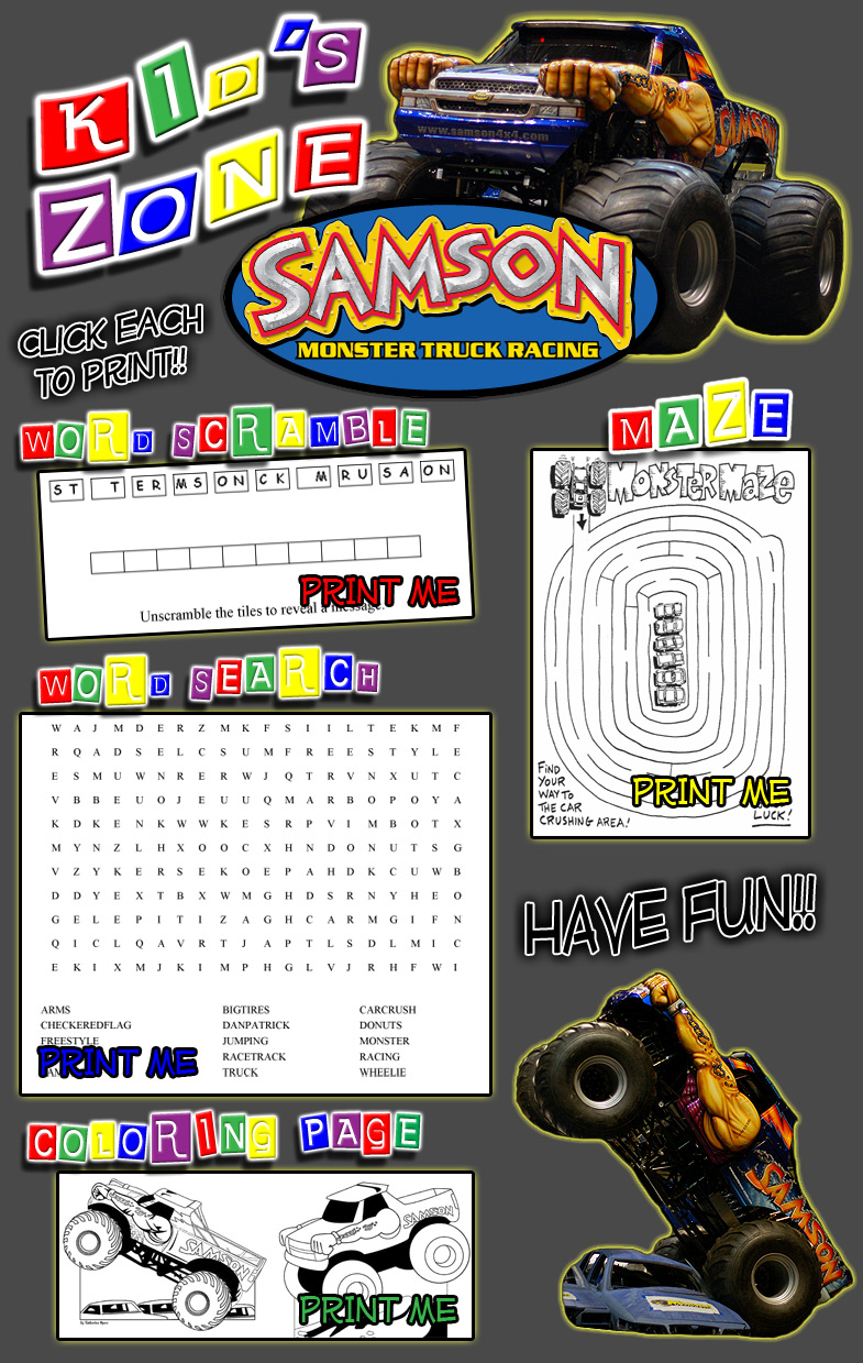 Samson Coloring Book, Maze, Word Scramble, Word Search - Fun activities for kids and children