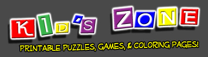 Kids Zone Printable Puzzles, Games and Coloring Books